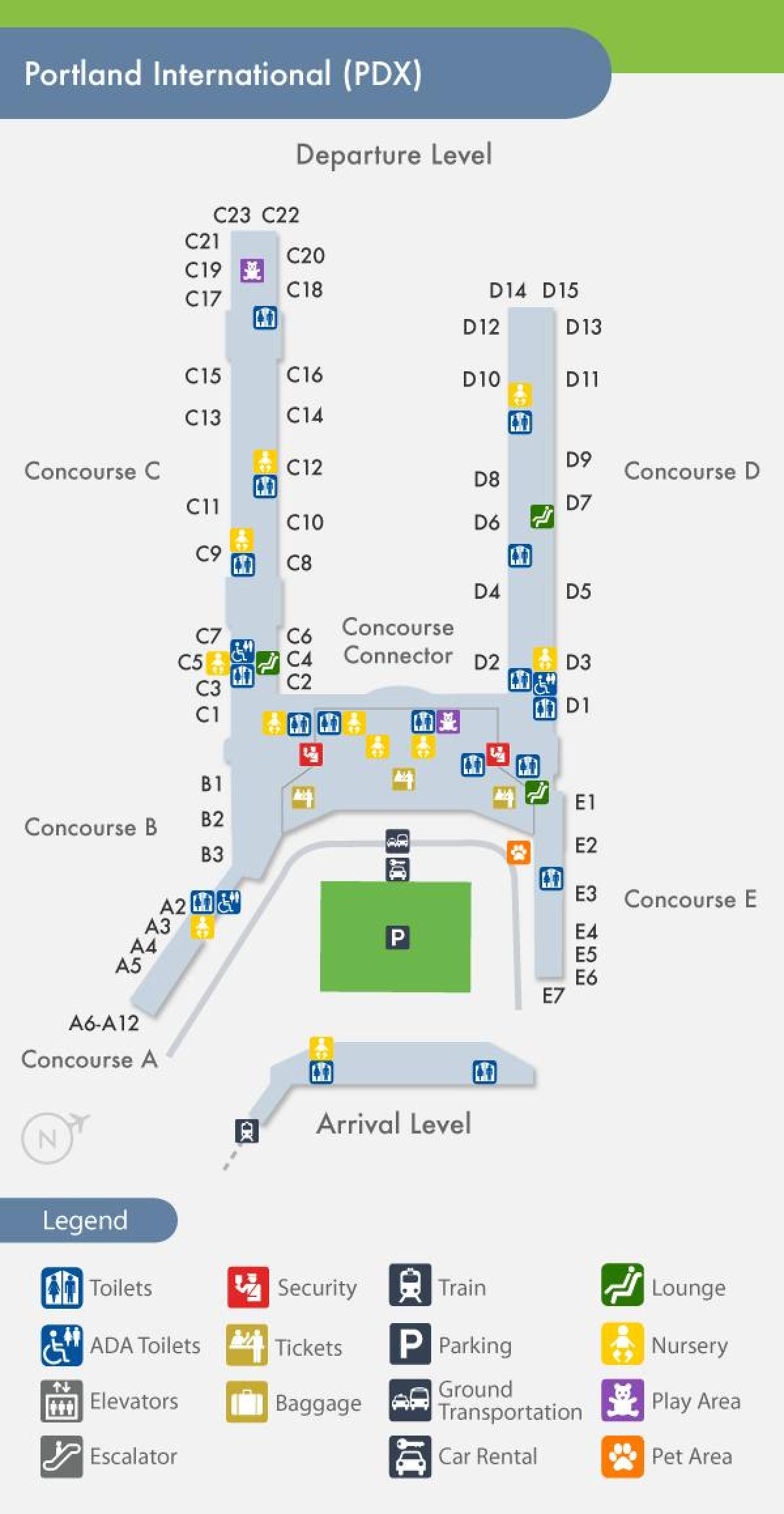 PDX carte de l'aéroport de
